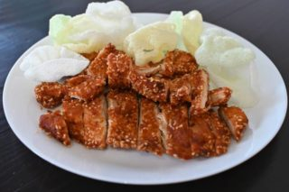 15. Breaded chicken breasts with sesame shrimp chips dostava