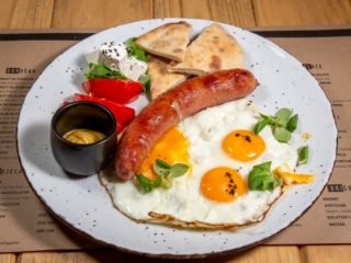 Eggs with sausage delivery