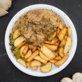 Veal steak in white mushroom sauce (oyster mushrooms) Kućerak Na Ribarcu delivery